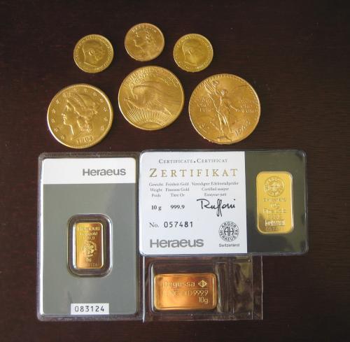 Goldmünzen, Goldbarren Degussa, Heraeus, 50 Pesos, 20 Dollars 1 Unze, 20 Franken Vreneli, 20 Kronen Österreich
