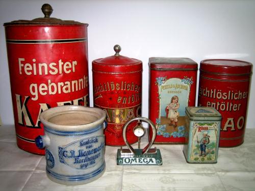 Kaffee- und Kakaodosen Rüger Hansi, Petzold & Aulhorn, Kautabaktopf Hanewacker